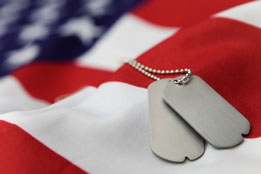 A photo of dog tags on an American flag